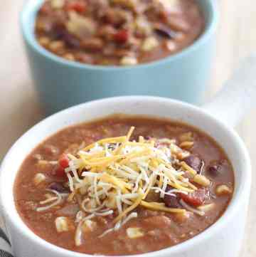 This super easy Mexican Taco Soup has so much flavor and will warm you during the cold evenings of Fall and Winter! From overthebigmoon.com!