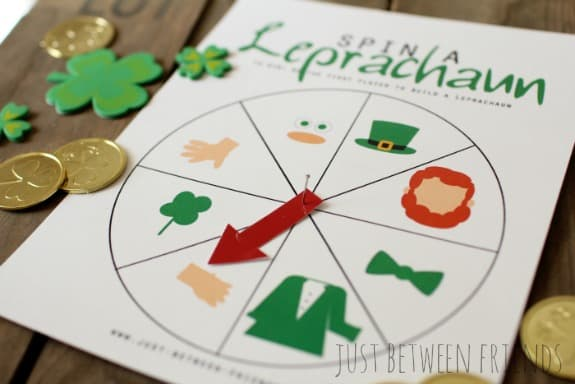 Spin a Leprechaun Game - Free Printable Game. From overthebigmoon.com!