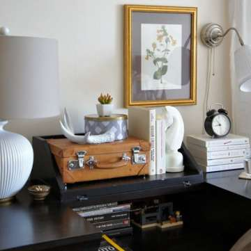 bedside table desk decorating