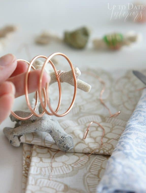 copper and coral napkin rings
