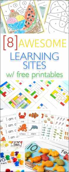 8 Awesome Learning Printable & Activity Sites - these sites are awesome for kids of all ages and will help you come up with TONS to keep your toddler, young kids and even older elementary kids busy!!
