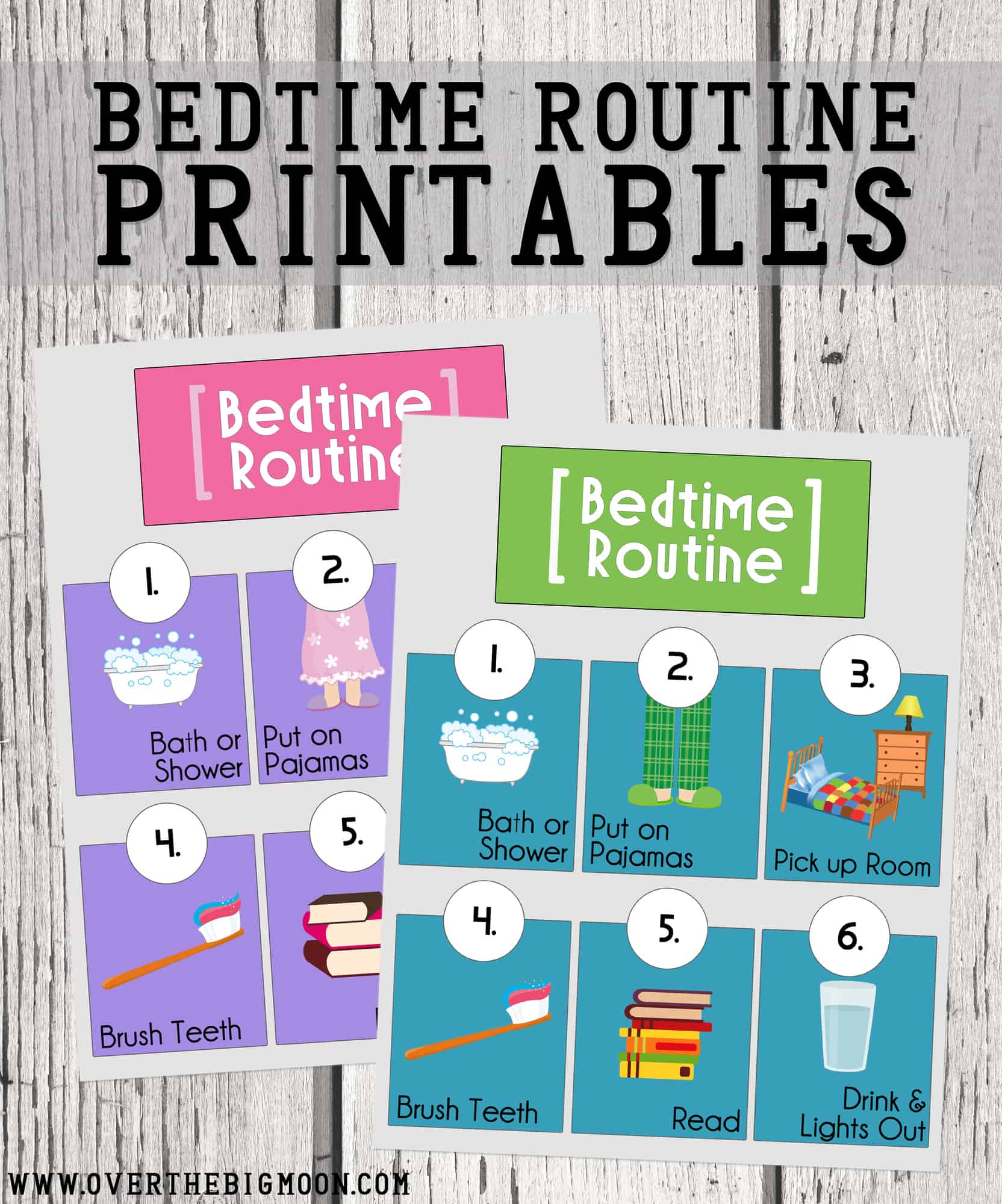 photo about Free Printable Social Stories for Preschoolers known as Bedtime Agenda Printables Higher than The Large Moon