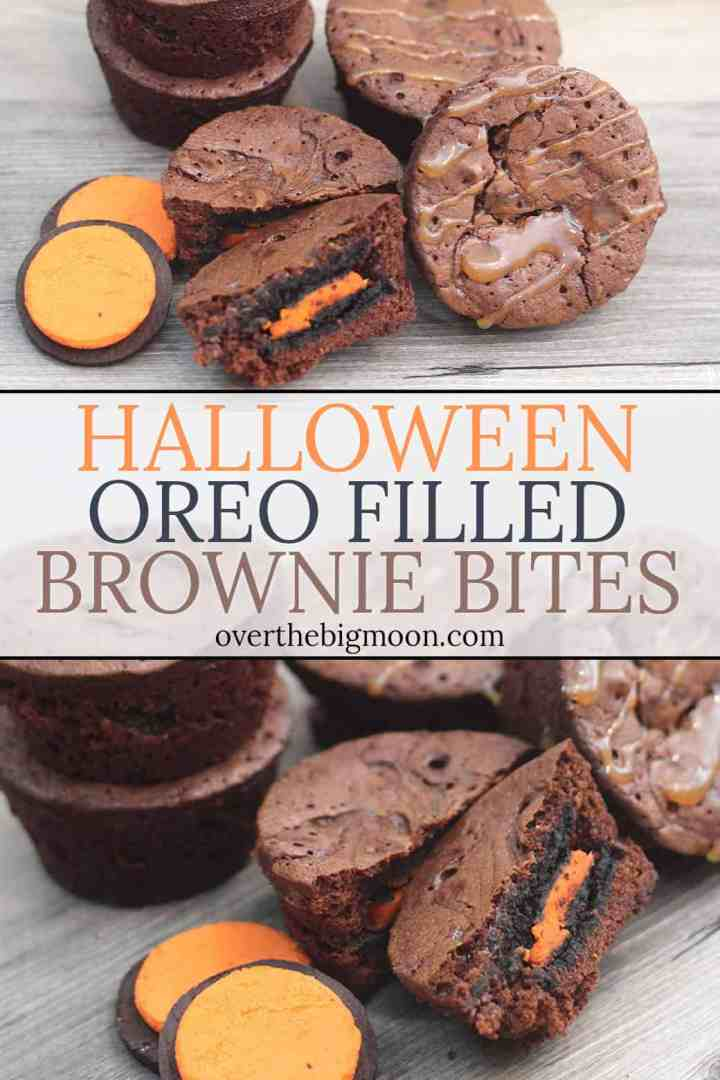 These fun Oreo Filled Caramel Brownie Bites are the perfect treat that everyone will love! Use orange filled Oreo's to make them the perfect Halloween Treat!