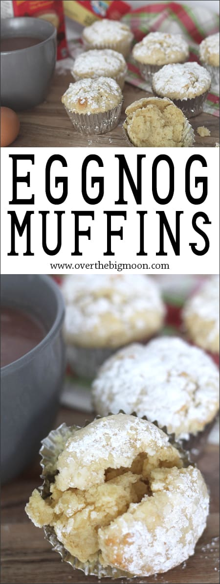These Egg Nog Fluffy Muffins are seriously the best! Such a perfect texture and they melt in your mouth! From www.overthebigmoon.com!