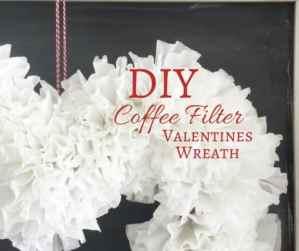 DIY Coffee Filter Valentines Wreath