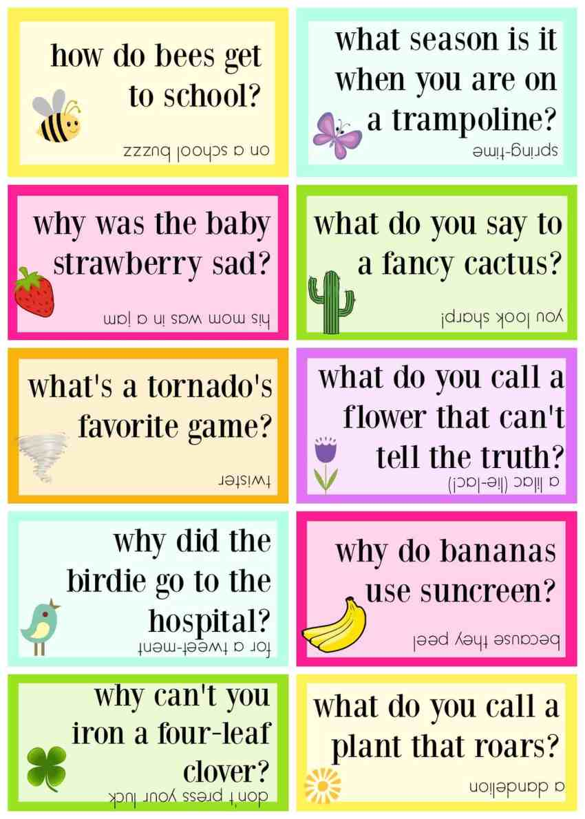 Spring themed Lunch Box Jokes that can be printed and added to lunches!
