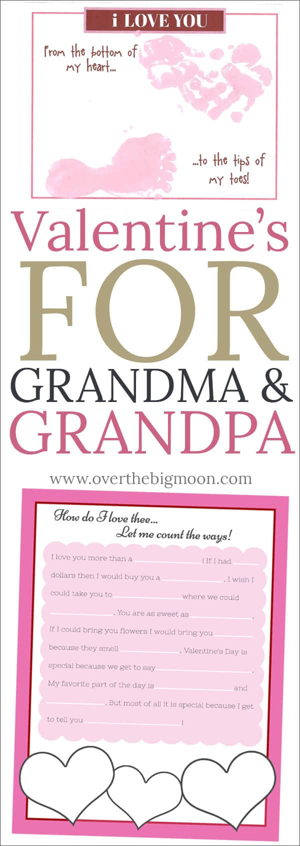 Valentine's Printables for the Grandparents! Let's not forget about Grandma and Grandpa this Valentine's Day! From overthebigmoon.com!