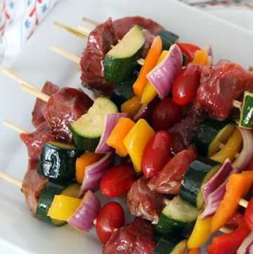 These Korean Teriyaki Beef Kabobs are pretty quick and easy and sooooo good! Perfect for a summer BBQ (or really whenever)! From www.overthebigmoon.com!