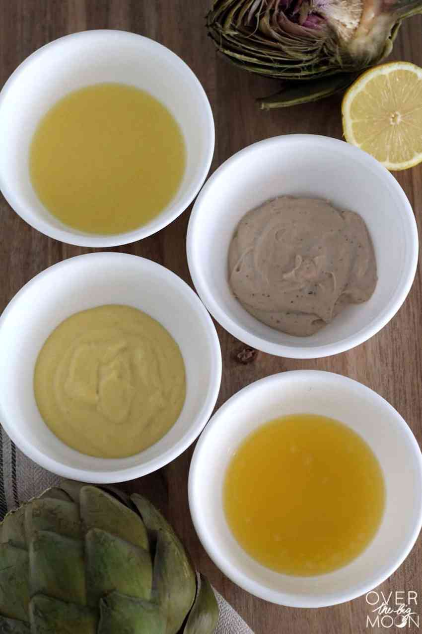4 Tasty Artichoke Dips -- lemon butter, mayo + balsamic, garlic butter and honey mustard. All of them are amazing! From overthebigmoon.com