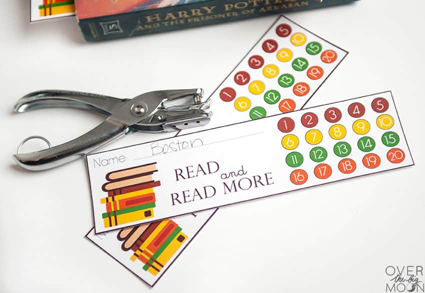 Printable Bookmark that Kids can Punch with a hole puncher!