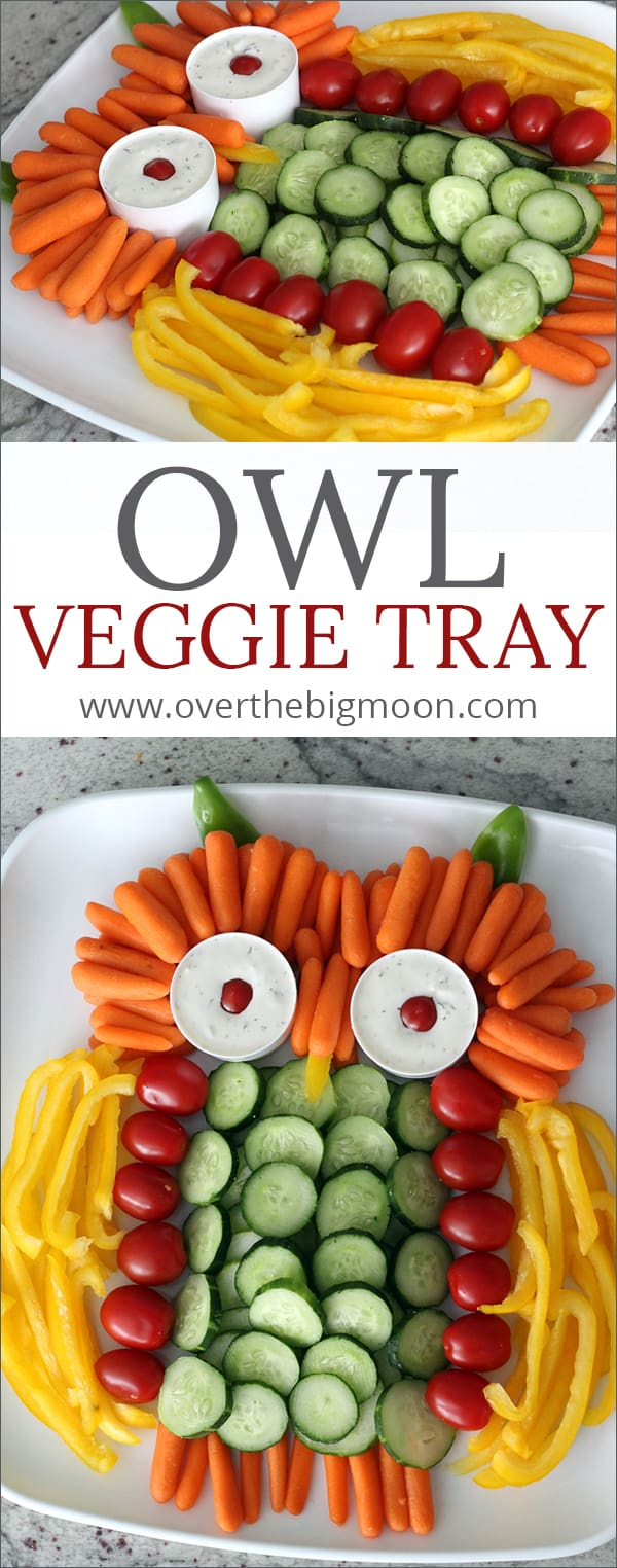 This Owl Veggie Tray is such a fun extra touch for any Fall gathering! | www.overthebigmoon.com