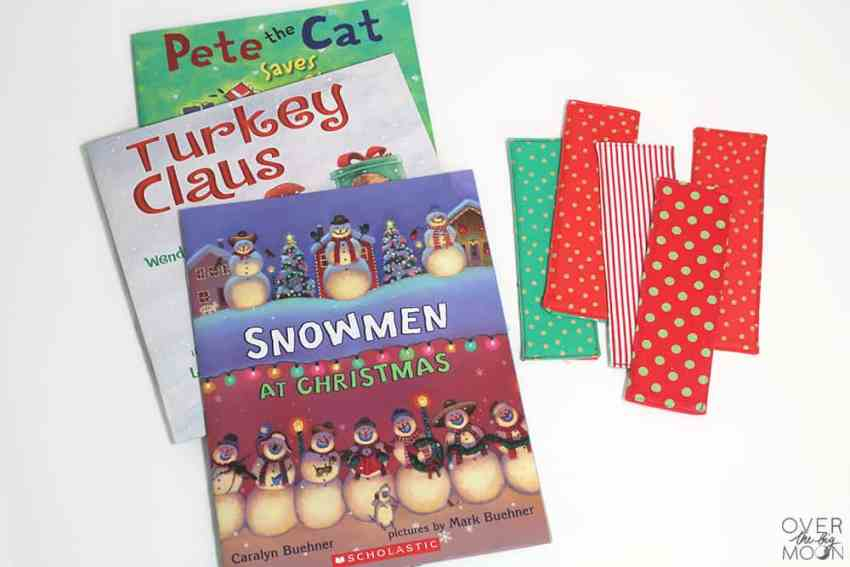 Christmas Kids Fabric Bookmarks - such a fun way to add to the Christmas holiday this season! From www.overthebigmoon.com!