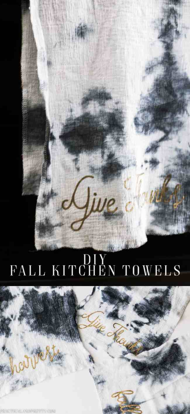 Grab some free files to make these DIY fall kitchen towels! Heat transfer vinyl can make anything look seasonal and festive.