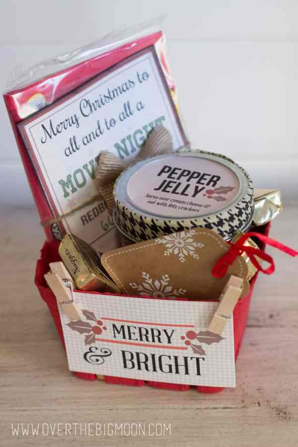 Merry and Bright Gift Tag - customize a simple gift of your favorites and use this gift tag on it! From overthebigmoon.com!