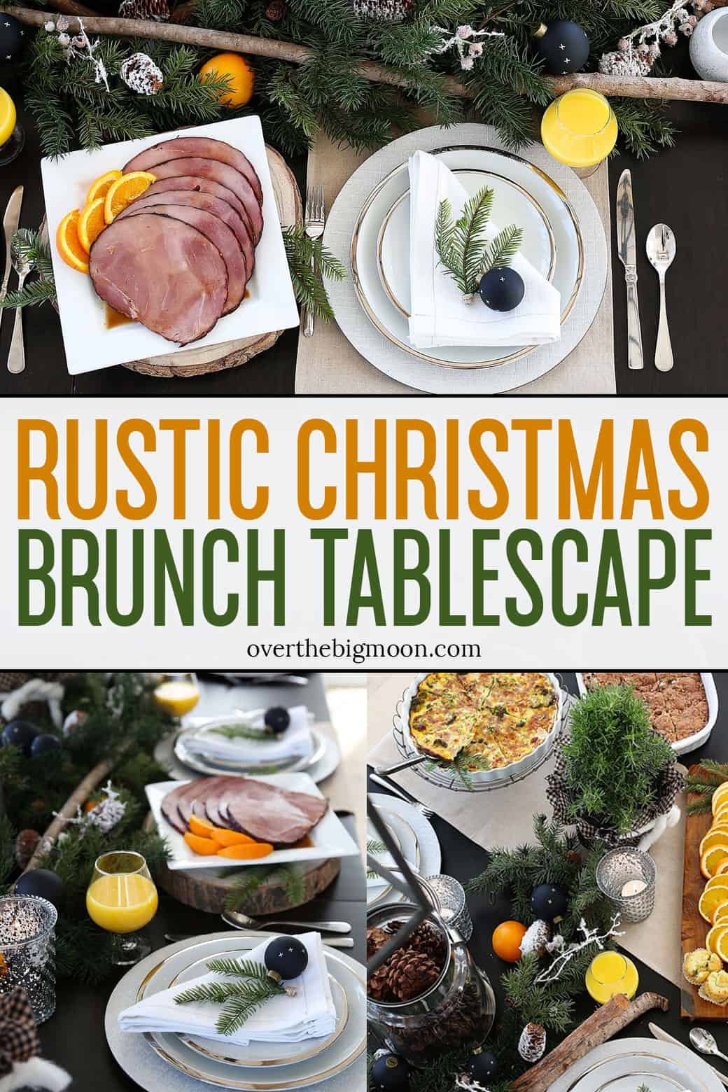 A beautiful Rustic Christmas Brunch Tabelscape and Christmas Brunch Menu Ideas! From overthebigmoon.com!