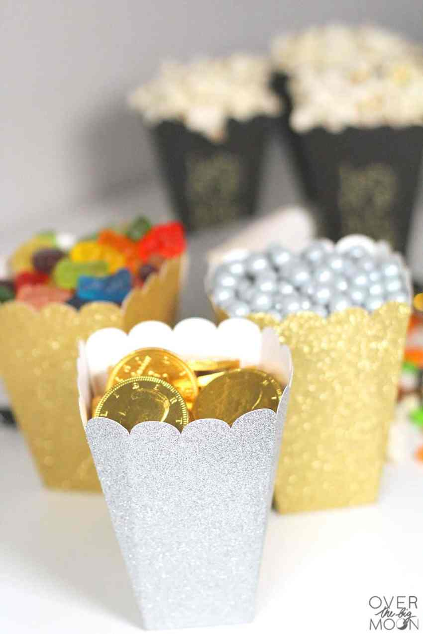 Glitter Treat Boxes - perfect for a New Years party or really any party! From overthebigmoon.com!