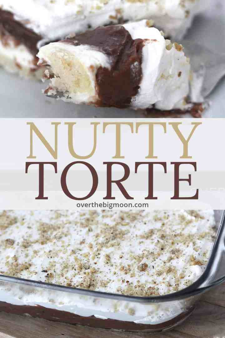 This Nutty Torte will have you hearing the angels sing! The crust, cream cheese layer, pudding and cool whip topping create the perfect dessert.