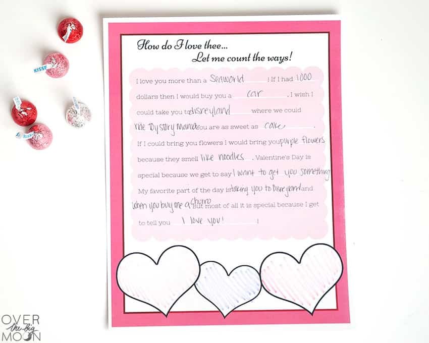 Valentine's Day Mad Lib -- perfect for Grandparents or even parents! From overthebigmoon.com!