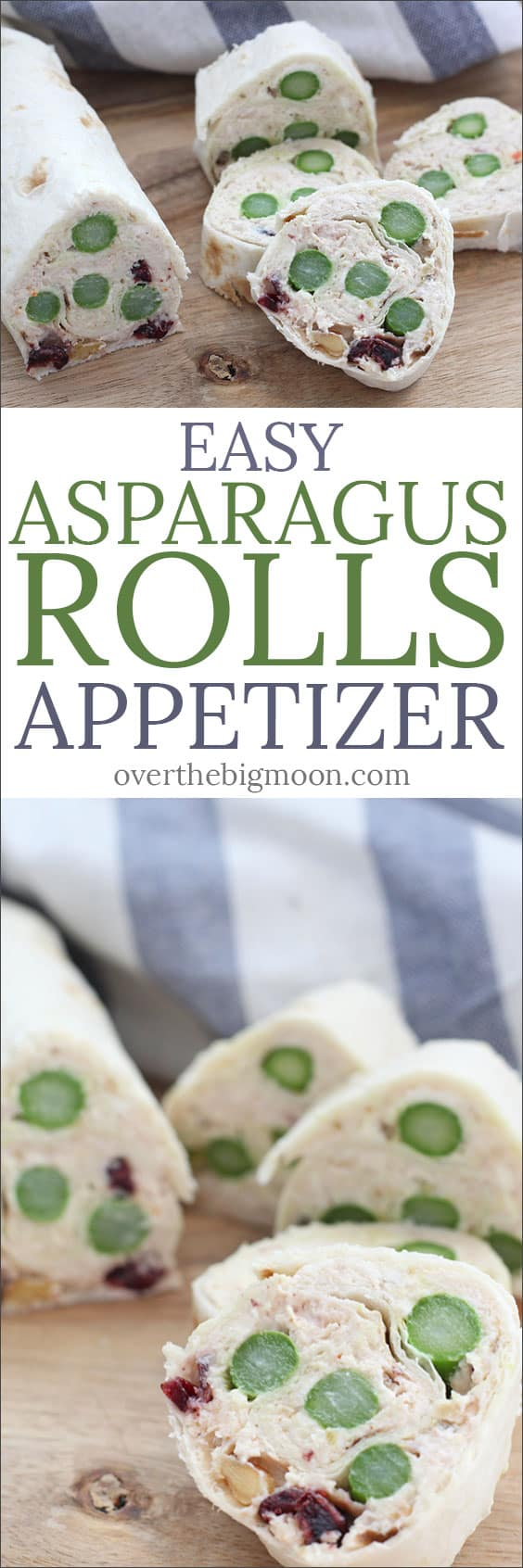A delicious Pinwheel Asparagus Roll Appetizer - perfect for get togethers, holiday parties, BBQ's and more! From overthebigmoon.com!