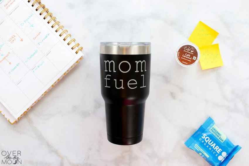 Mom Fuel Vinyl Sticker for your Coffee Mug! Come check this and 9 other designs out that are perfect for moms! From overthebigmoon.com! #vinyl #tumbler #cricutmade #cricut