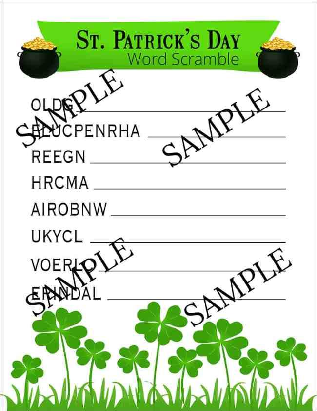 St. Patrick's Day Word Scramble | overthebigmoon.com