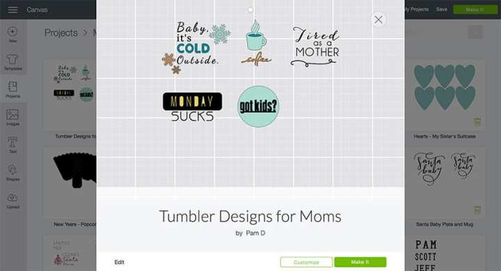 Tumbler Designs for Moms - perfect for customize your tumbler! From overthebigmoon.com! #vinyl #tumbler #cricutmade #cricut