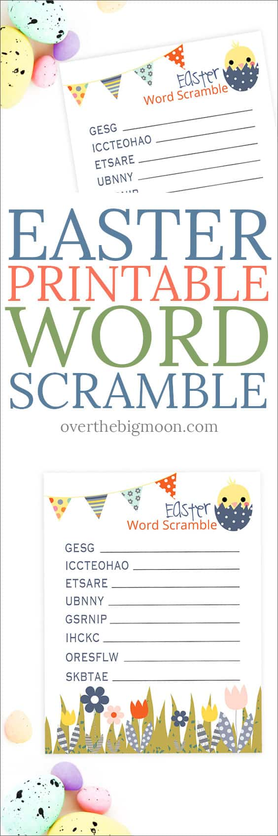 This Easter Printable Word Scramble is the perfect fun activity for kids to play this Easter season! From overthebigmoon.com!