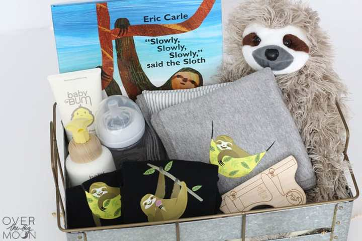 Sloth Baby Gift Idea - perfect for momma to be! From overthebigmoon.com!