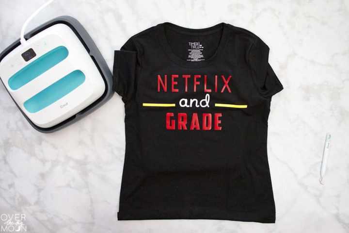DIY Teacher Shirt - Netflix and Grade! From overthebigmoon.com!