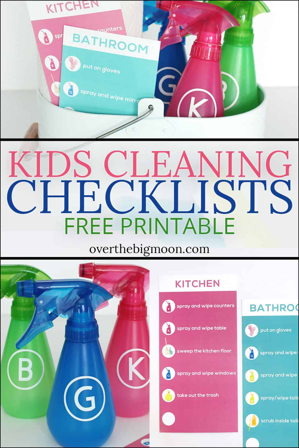 Kids Cleaning Checklists Free Printable - perfect way to get your kiddos helping around the house! From overthebigmoon.com!