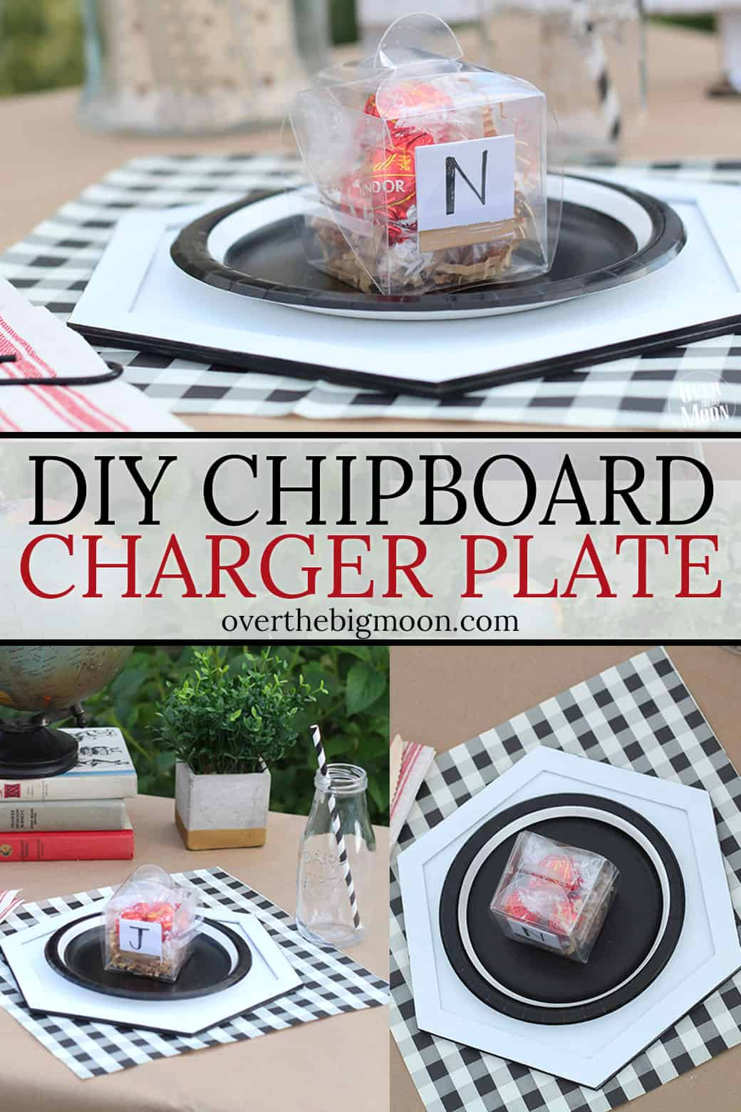 DIY Chipboard Charger Plate - made from Chipboard using the Knife Blade on the Cricut Maker! From overthebigmoon.com!