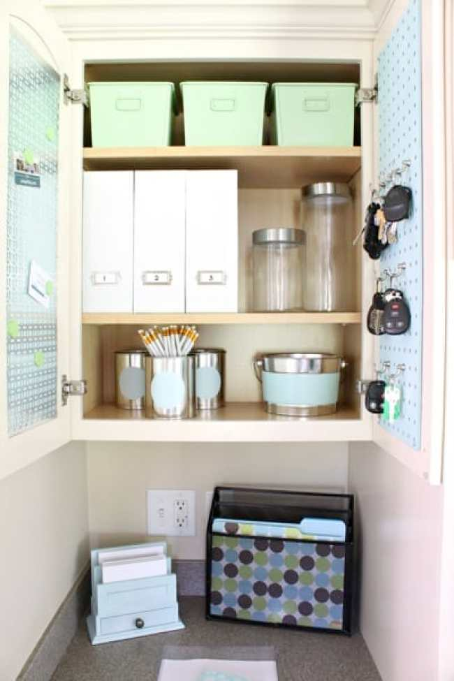 Create a super functional and pretty command center from a cabinet! overthebigmoon.com!