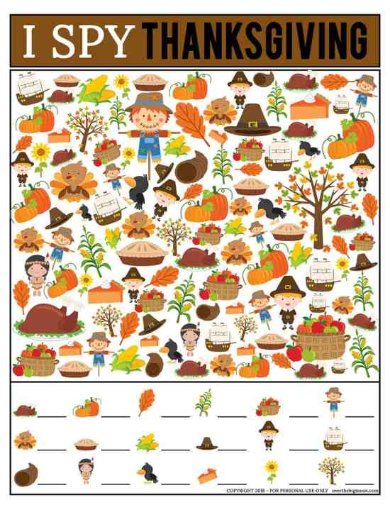 Thanksgiving I Spy Game | Over The Big Moon