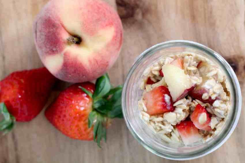 Strawberry Peach Overnight Oats Recipe + 30 more! From overthebigmoon.com