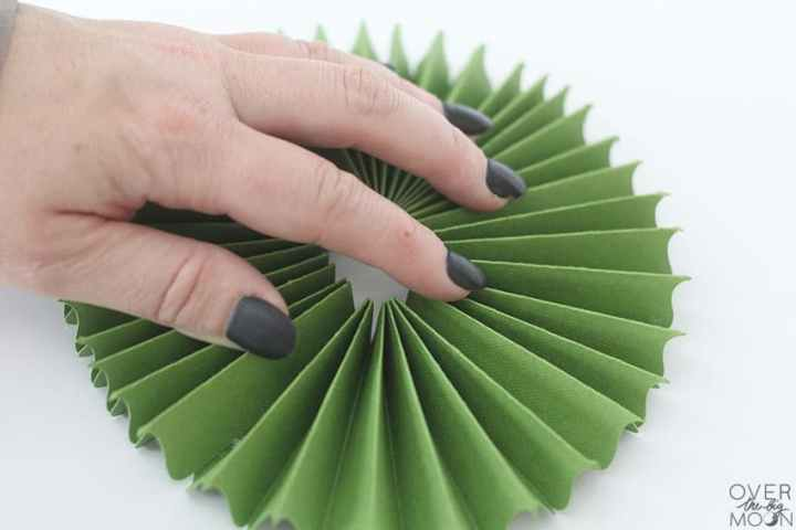 Create round rosette and hot glue it together! From overthebigmoon.com!