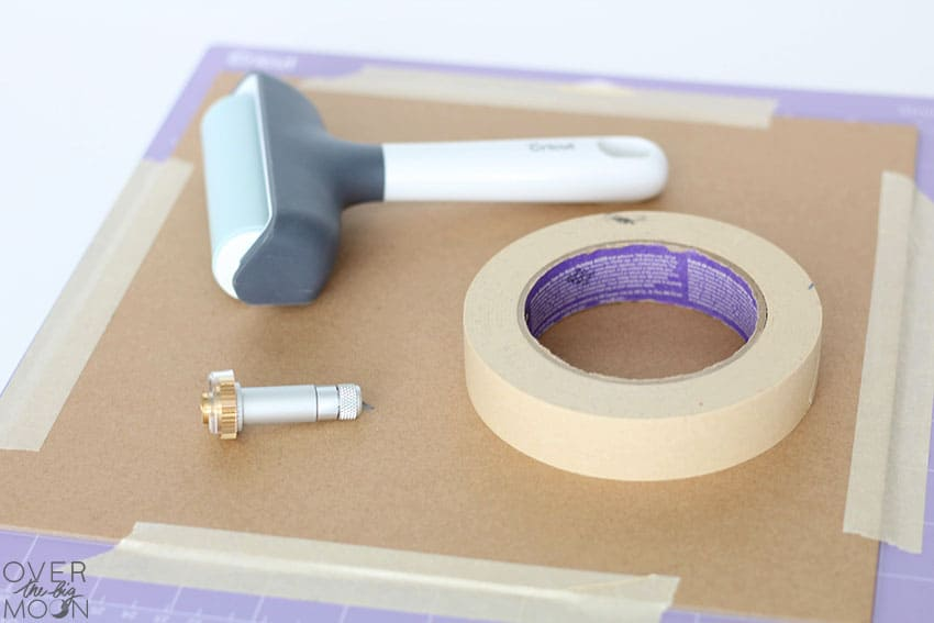 Chipboard Mat for the Cricut Maker - masking tape, knife blade and brayer! From overthebigmoon.com!