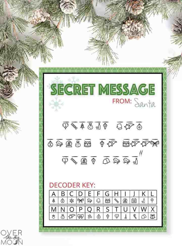 Secret Message from Santa printable preview.