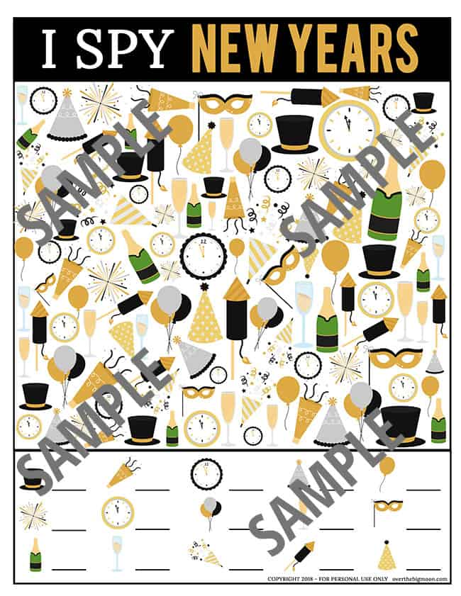 New Year's Eve I Spy Printable Game - from overthebigmoon.com!