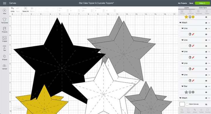 Design Space File for Star Cake Topper and Cupcake Toppers! From overthebigmoon.com!