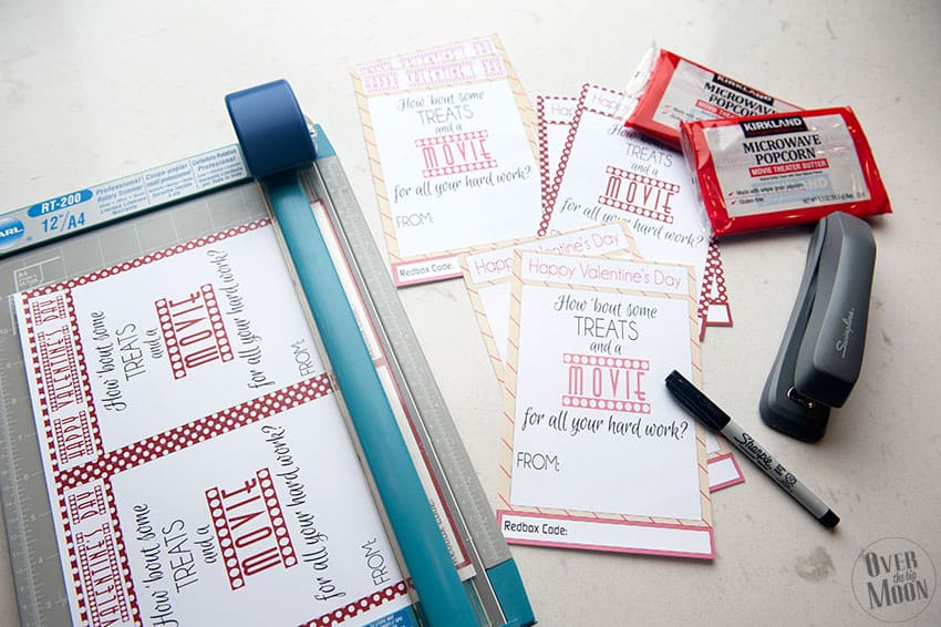 Cut and fill out these cute Redbox Valentine's for Teachers! From overthebigmoon.com!