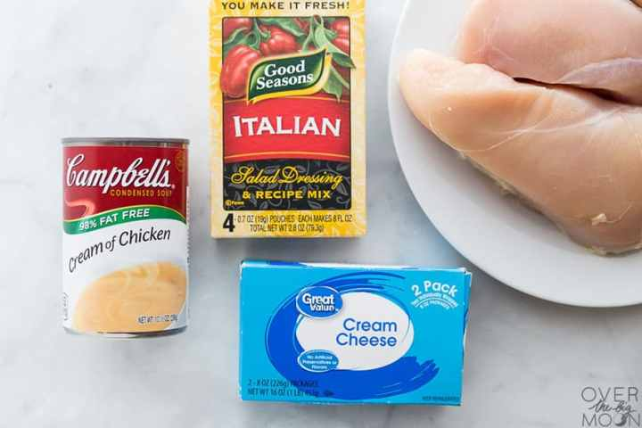 Creamy Italian Chicken ingredients to make a freezer meal! From overthebigmoon.com!