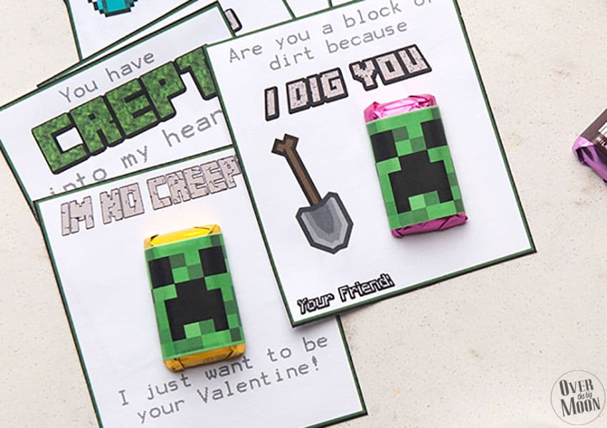 Free Printable Minecraft Valentine's - tons of sayings + creeper mini candy bar wrappers! From overthebigmoon.com!