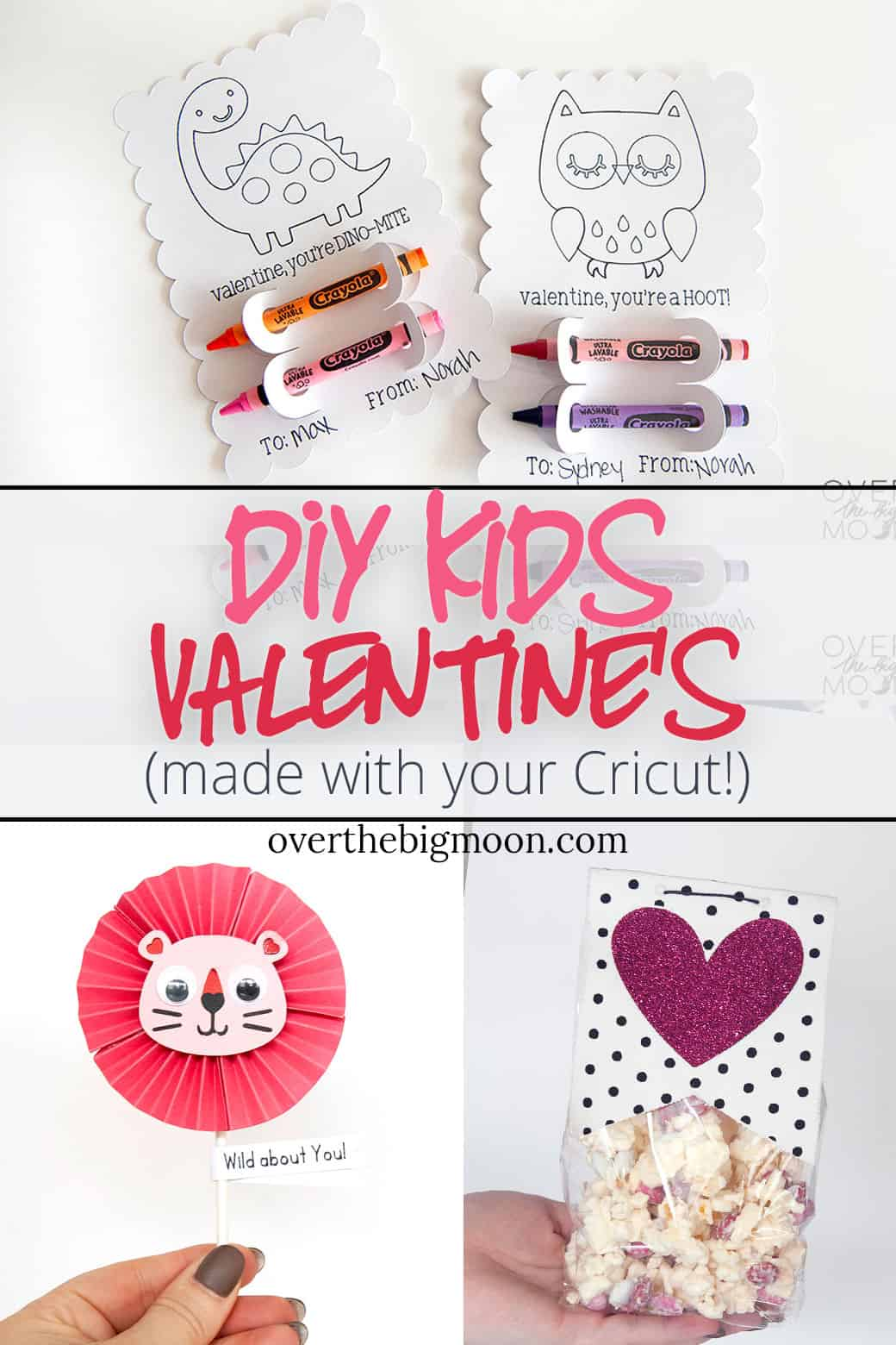 Come learn how to make these 3 fun Valentine's using your Cricut Maker! All are super fun and easy! From overthebigmoon.com!