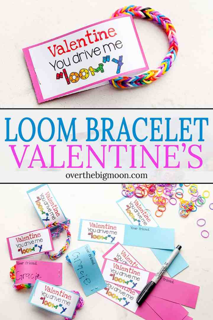 Learn how to make these adorable Loom Bracelet Valentine's! The free printable makes it a super easy and fun Valentine's! From overthebigmoon.com!