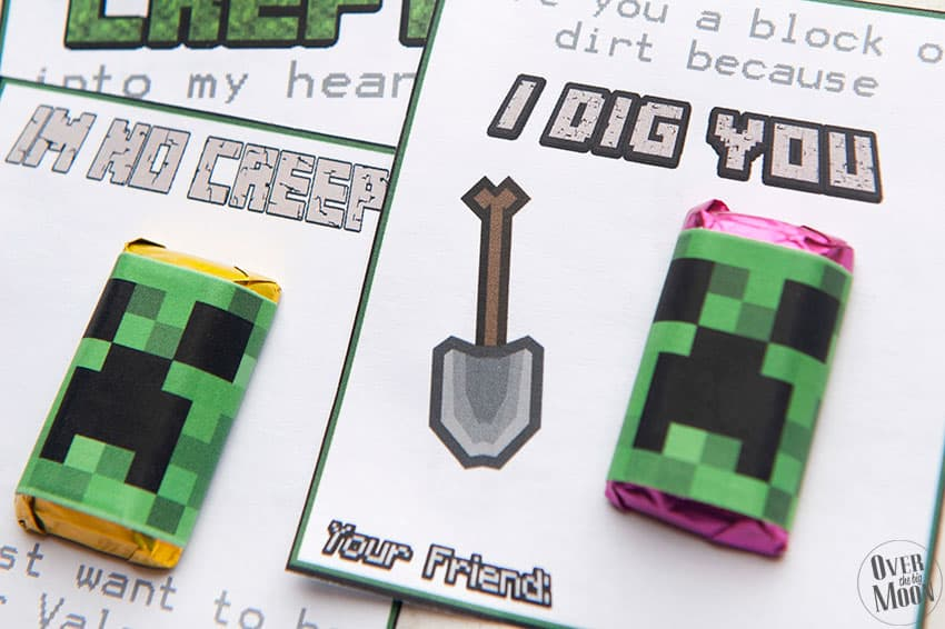 Free Minecraft Valentine's and Creeper Candy Bar Wrappers | overthebigmoon.com