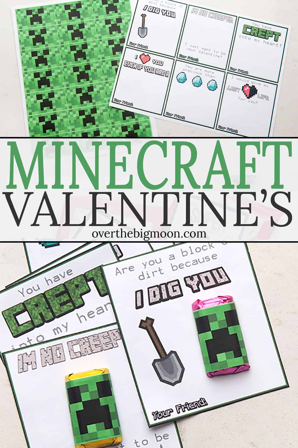 image relating to Minecraft Printable Valentines referred to as Totally free Printable Minecraft Valentines - In excess of the Substantial Moon