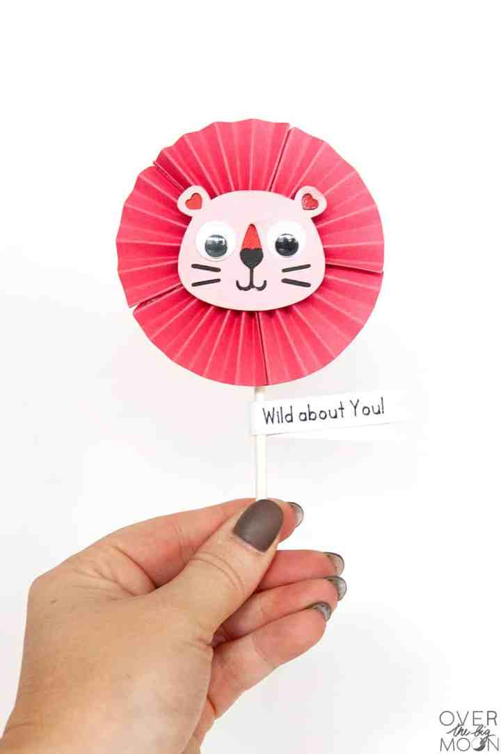 'Wild About You' Sucker Valentine made using the Cricut! From overthebigmoon.com!