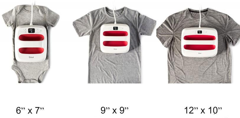 The three EasyPress 2 sizes in comparison to clothing!