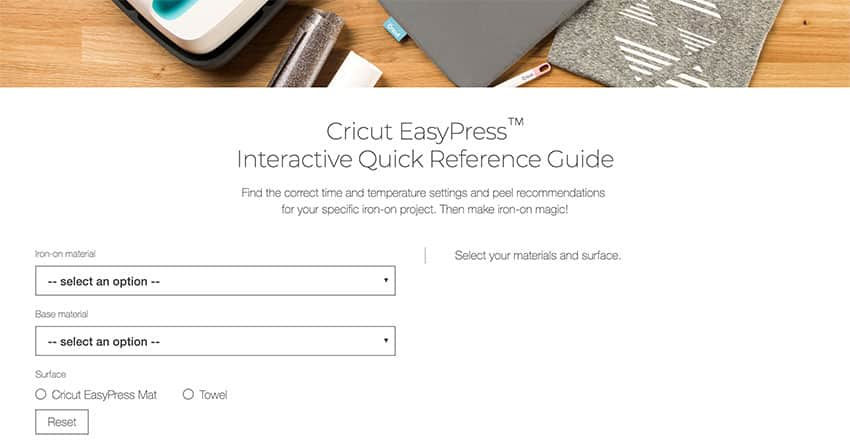 EasyPress Interactive Recommended Settings Website
