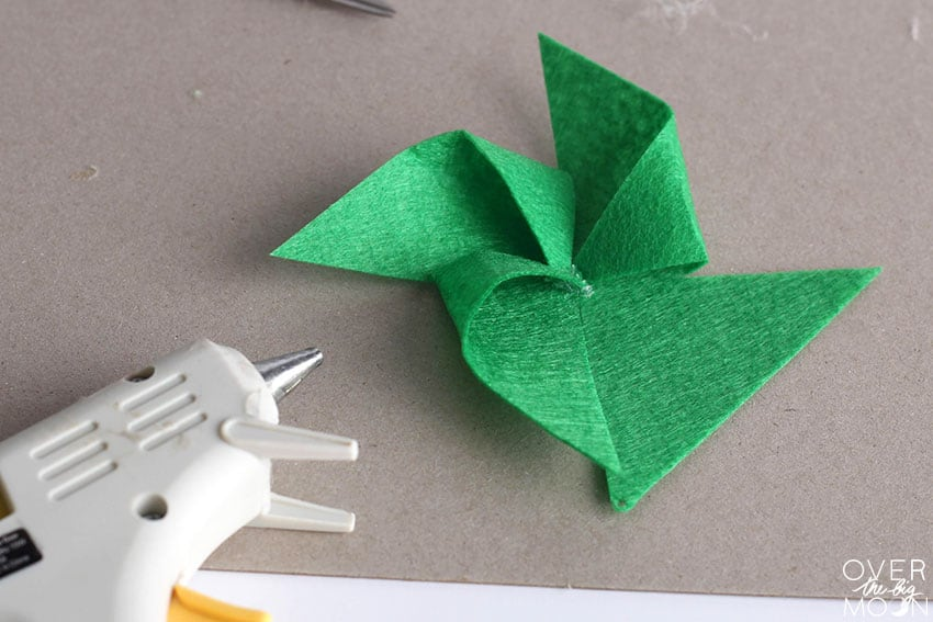 Put together the Felt pinwheels using hot glue!